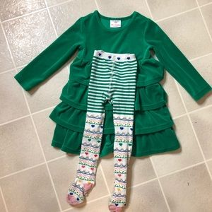 Hanna Andersson Green Velour Tiered Twirl Dress 4